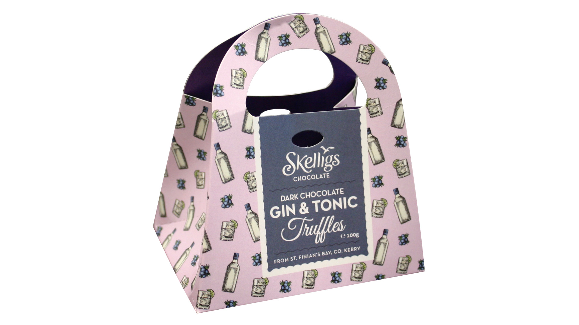 Skellig chocolates gin and tonic bag packaging